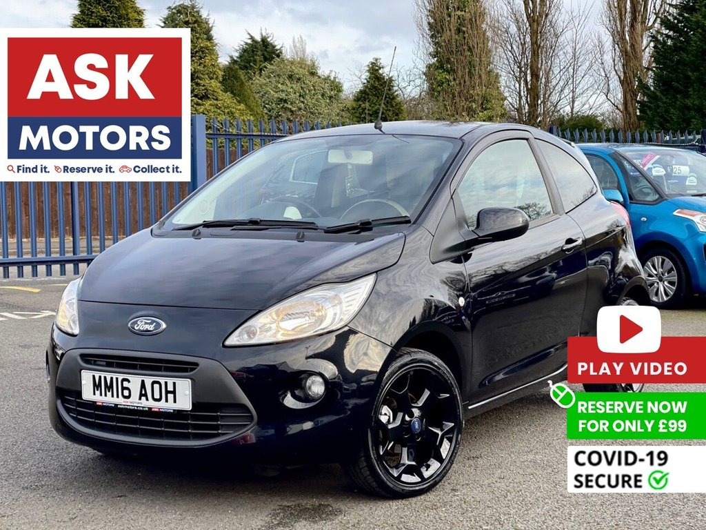 USED 2016 16 FORD KA 1.2 ZETEC BLACK EDITION 3d 69 BHP 1 REG KEEPER S/H BLUETOOTH
