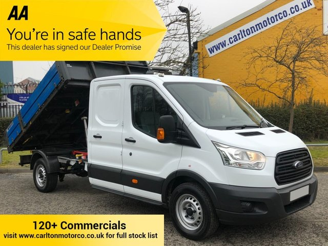 2016 66 FORD TRANSIT 350 125 L3 D/CAB TIPPER / PICKUP ALLOY BODY REAR STORAGE SRW