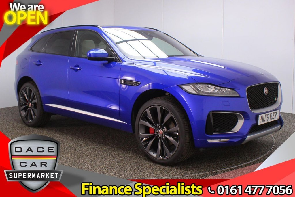 USED 2016 16 JAGUAR F-PACE 3.0 V6 FIRST EDITION AWD 5DR AUTO 1 OWNER 296 BHP FULL SERVICE HISTORY + HEATED LEATHER SEATS + PANORAMIC ROOF + SATELLITE NAVIGATION + PARK ASSIST + REVERSING CAMERA + PARKING SENSOR + LANE ASSIST SYSTEM + BLUETOOTH + CRUISE CONTROL + CLIMATE CONTROL + MULTI FUNCTION WHEEL + LED HEADLIGHTS + PRIVACY GLASS + ELECTRIC FRONT SEATS + DAB RADIO + ELECTRIC WINDOWS + ELECTRIC/HEATED/FOLDING DOOR MIRRORS + 22 INCH ALLOY WHEELS