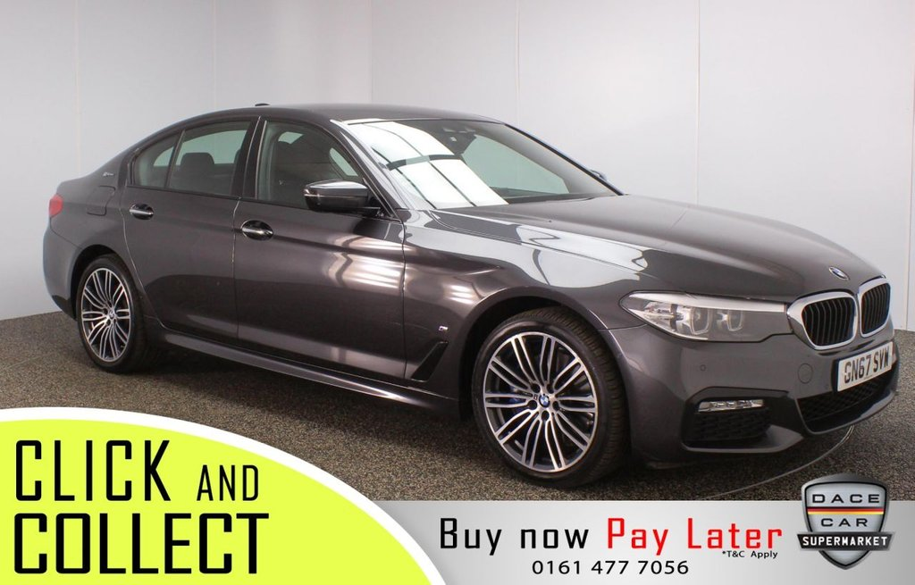 USED 2017 67 BMW 5 SERIES 2.0 530E M SPORT 4DR AUTO 249 BHP + SAT NAV + 1 OWNER  FULL SERVICE HISTORY + HEATED LEATHER SEATS + BMW LIVE COCKPIT + SATELLITE NAVIGATION PROFESSIONAL + PARKING SENSOR + BLUETOOTH + CRUISE CONTROL + CLIMATE CONTROL + MULTI FUNCTION WHEEL + DAB RADIO + ELECTRIC WINDOWS + ELECTRIC DOOR MIRRORS + ALLOY WHEELS