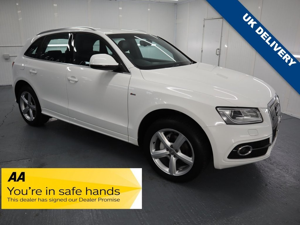 USED 2012 62 AUDI Q5 2.0 TDI QUATTRO S LINE 5d 175 BHP EXCEPTIONALLY FAST AND SMOOTH GEAR CHANGE WITH LUXURIOUS, CLASSY INTERIOR ALL WRAPPED AROUND A 4 WHEEL DRIVE SUV. WITH GREAT SERVICE HISTORY THIS AUDI IS STUNNING IN THE BEST COLOUR OF WHITE.