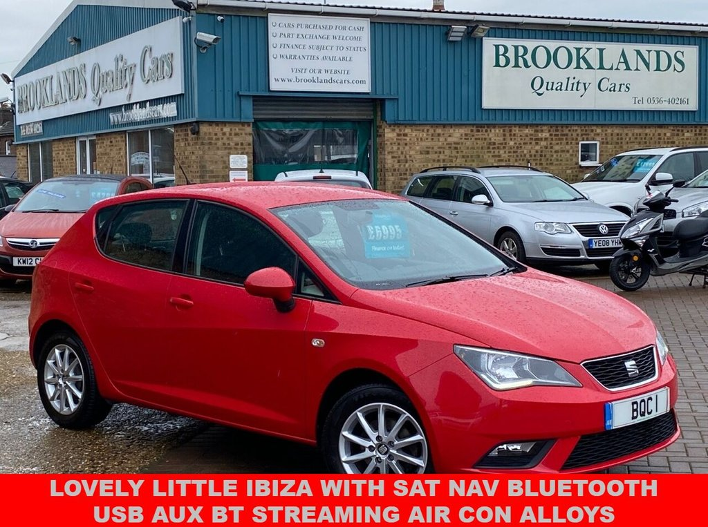 USED 2016 16 SEAT IBIZA 1.0 SE TECHNOLOGY 5 DOOR EMOCION RED 74 BHP LOVELY LITTLE IBIZA WITH SAT NAV BLUETOOTH USB AUX BT STREAMING AIR CON ALLOYS
