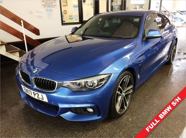 USED 2017 17 BMW 4 SERIES 2.0 420D M SPORT GRAN COUPE 4d 188 BHP New front & rear brake pads, a new shock absorber, and supplied with at least 6 months warranty, a service and wheels refurbished to a colour of your choice! (gloss black looks great). This 420d 188 BHP M Sport Manual is finished in Metallic Estoril Blue with full Black heated comfort Dakota Leather seats. It is fitted with power steering, remote locking, electric windows and mirrors with power fold, dual zone climate control, front and rear parking sensors, driver and passenger lumbar support +
