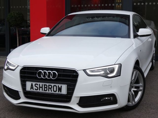 USED 2014 64 AUDI A5 2.0 TDI S LINE  2d 177 S/S CAMBELT CHANGED, £30 ROAD TAX, UPGRADE MMI NAVIGATION PLUS HARD DRIVE BASED WITH JUKEBOX & DVD PLAYBACK, UPGRADE HEATED SEATS, UPGRADE PARKING SYSTEM PLUS FRONT & REAR WITH DISPLAY, CRUISE CONTROL, DAB RADIO, BLUETOOTH PHONE & MUSIC, LED XENON LIGHTS, 18 INCH TWIN 5 SPOKE ALLOYS, FULL LEATHER, SPORT SEATS WITH ELECTRIC LUMBAR SUPPORT, LEATHER MULTIFUNCTION STEERING WHEEL, LIGHT & RAIN SENSORS WITH AUTO DIMMING REAR VIEW MIRROR, AUX, DUAL CLIMATE A/C, ILLUMINATNG VANITY MIRRORS, SERVICE HISTORY