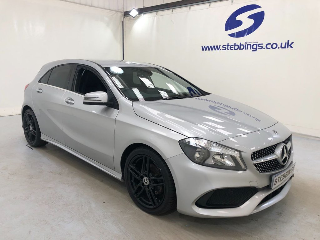 """USED 2017 67 MERCEDES-BENZ A-CLASS 1.5 A 180 D AMG LINE 5d 107 BHP HALF LEATHER, MULTIMEDIA INTERFACE, DAB RADIO, SMARTPHONE INTEGRATION, CLIMATE CONTROL, CRUISE CONTROL, REAR VIEW CAMERA, 18"""" ALLOYS"""