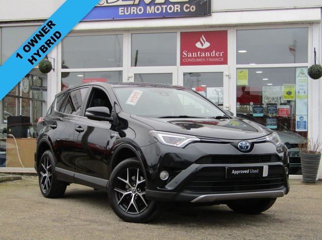 "USED 2018 67 TOYOTA RAV4 2.5 VVT-I DESIGN 5d 198 BHP Finished in ECLIPSE BLACK METALLIC with Leather/Alcantara Black trim. This New Shape Rav4 is a roomy family car with a spacious and well laid out interior. It also has plenty of high spec and with its adjustable rear seats makes it very versitile. Features include Sat Nav, DAB Radio, B/Tooth, Power rear Boot, 18"" Alloys, Front and rear parking sensors and much more. Dealer serviced at 13033 miles, 25949 miles, 37163 miles, 48029 miles, 57265 miles and at 67228 miles. MOT due 25/1/2022."