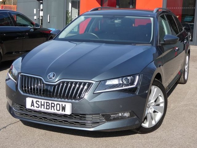 USED 2018 68 SKODA SUPERB ESTATE 2.0 TDI SE L EXECUTIVE DSG 5d 150 S/S FULL SKODA HISTORY, BALANCE OF SKODA WARRANTY, 1 OWNER, DSG AUTOMATIC, COLUMBUS SAT NAV, HEATED FRONT SEATS, FULL BLACK LEATHER INTERIOR, KEYLESS ENRTY & STARTING, BLIND SPOT MONITOR, REAR TRAFFIC ALERT, ELECTRIC MEMORY DRIVER'S SEAT, BLUETOOTH PHONE & AUDIO STREAMING, ADAPTIVE CRUISE CONTROL WITH FRONT ASSIST, MANOEUVRE BRAKING, XENON HEADLIGHTS WITH LED DRL'S, PARK PILOT REAR PARKING SENSORS, ELECTRIC FOLDING MIRRORS, DAB RADIO, AUX/USB, APPLE CARPLAY / ANDROID AUTO, ELECTRIC TAILGATE, VAT Q