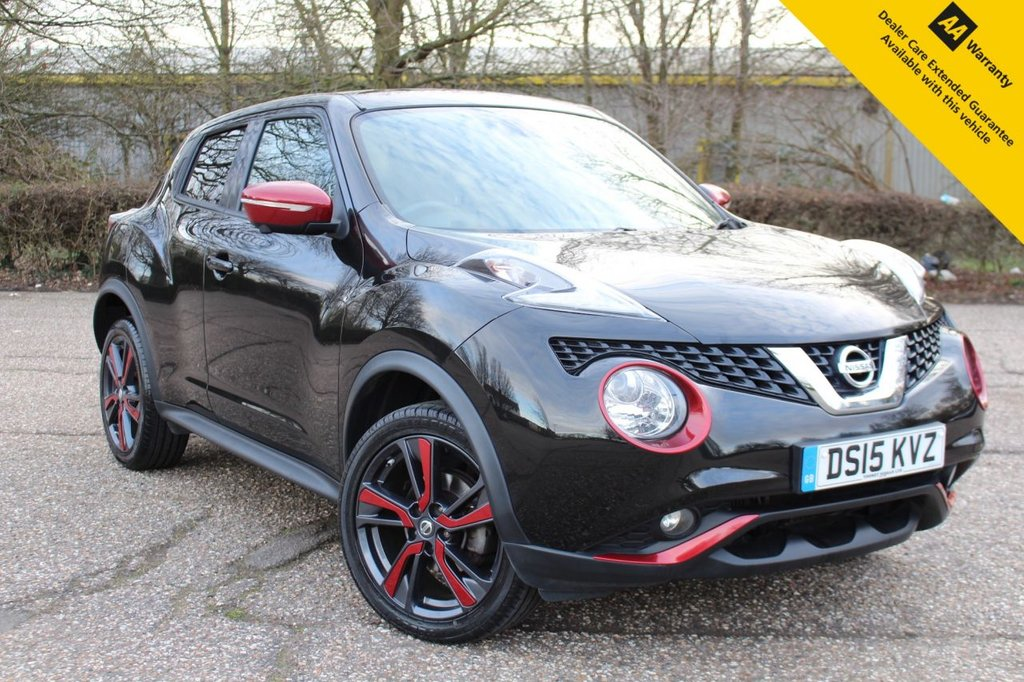 USED 2015 15 NISSAN JUKE 1.2 TEKNA DIG-T 5d 115 BHP ** 1 OF A KIND ** FULL SERVICE HISTORY ** FRESHLY SERVICED + NEW TYRES ** UPGRADED PANORAMIC SUNROOF ** UPGRADED ALLOY WHEELS ** UPGRADED JUKE BODY EXTERIOR PACK IN RED **  360 PARKING CAMERAS ** HEATED LEATHER INTERIOR ** BLIND SPOT MONITOR SYSTEM ** SAT NAV ** CLIMATE CONTROL ** CRUISE CONTROL ** AUTO LIGHTS + WIPERS ** POWER MIRRORS ** BLUETOOTH ** ULEZ EXEMPT ** CLICK & COLLECT + NATIONWIDE DELIVERY AVAILABLE ** BUY ONLINE IN CONFIDENCE FROM A MULTI AWARD WINNING 5* RATED DEALER **