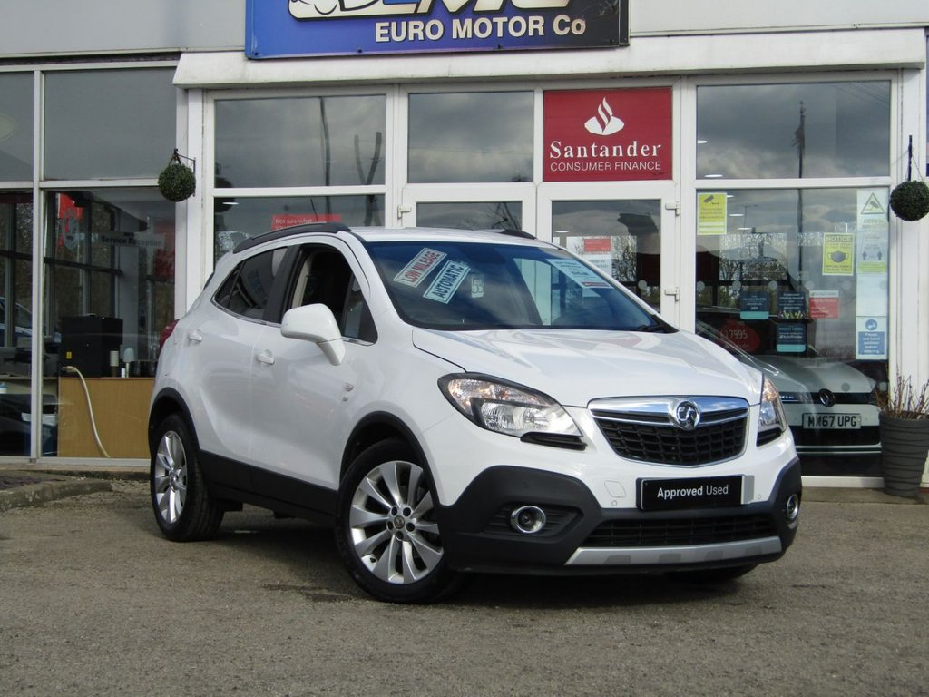 """USED 2016 65 VAUXHALL MOKKA 1.4 SE 5d 138 BHP Finished in SUMMIT WHITE with contrasting BLACK/GREY HEATED LEATHER TRIM. This is one of the most popular in the compact SUV market together with its premium package, its a must have family suv. Features also include Full Heated Leather, 18"""" Alloys, DAB radio, B/Tooth, Cruise Control, Power Folding Mirrors, Park Sensors and much more. Dealer serviced at 2755 miles, 5289 miles, 7600 miles and at 9016 miles. MOT DUE 3/12/2021."""