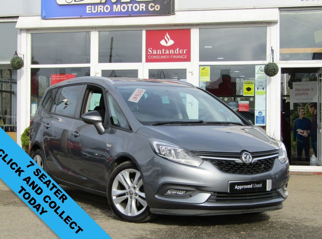 USED 2017 17 VAUXHALL ZAFIRA TOURER 1.4 SRI 5d 138 BHP Finished in SATIN STEEL GREY MET with contrasting GREY trim. The Zafira Tourer should definitely be on your shopping list if you are in the market for a good-looking MPV that drives well. The interior is pleasant, the Flexable 7 seating option is a bonus for families and trips away. Features include, DAB radio, Front and Rear Park Sensors, B/Tooth, Cruise Control and much more. Evans Halshaw Vauxhall Dealer serviced at 7131 miles, 13893 miles and at 20489 miles. MOT due 3/3/2022.