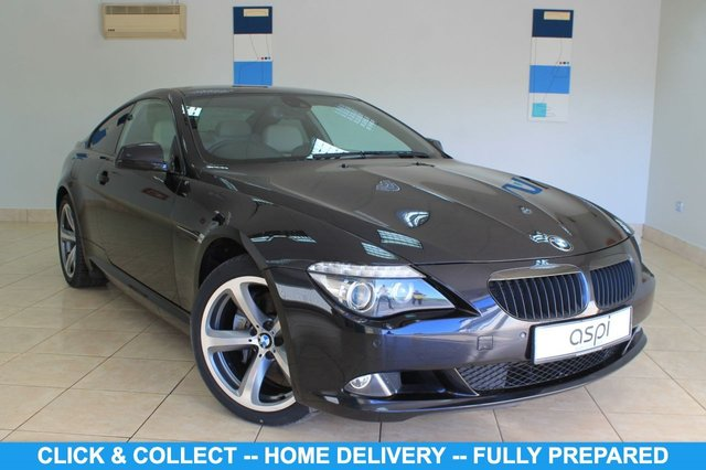 "USED 2010 10 BMW 6 SERIES 3.0 635D SPORT 2d 282 BHP BEIGE DAKOTA LEATHER WITH BLACK STITCHING, SATELLITE NAVIGATION, 19"" STAR SPOKE ALLOYS, CLIMATE CONTROL, BMW ASSIST, BMW ONLINE, VOICE CONTROL, EXTENDED BMW ONLINE INFORMATION, BLUETOOTH PREP, USB/AUDIO INTERFACE, M SPORT SUSP, M SPORT STEERING WHEEL, HIGH GLOSS SHADOW LINE, ANTHRACITE HEADLINING, CRUISE CONTROL, PARKING SENSORS, PIANO BLACK INTERIOR TRIM, ELEC FOLDING MIRRORS, DRIVERS SEAT WITH MEMORY, XENONS, HI FI SPEAKER SYS, HEATED FRONT SEATS, LIGHT PK, LANE DEPARTURE WARNING"