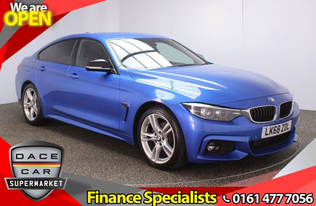 USED 2018 68 BMW 4 SERIES GRAN COUPE 2.0 420D M SPORT GRAN COUPE 4DR 1OWNER AUTO 188 BHP FULL BMW SERVICE HISTORY + HEATED LEATHER SEATS + SATELLITE NAVIGATION PROFESSIONAL + PARKING SENSOR + BLUETOOTH + CRUISE CONTROL + CLIMATE CONTROL + MULTI FUNCTION WHEEL + XENON HEADLIGHTS + DAB RADIO + USB PORT + ELECTRIC WINDOWS + ELECTRIC DOOR MIRRORS + 18 INCH ALLOY WHEELS