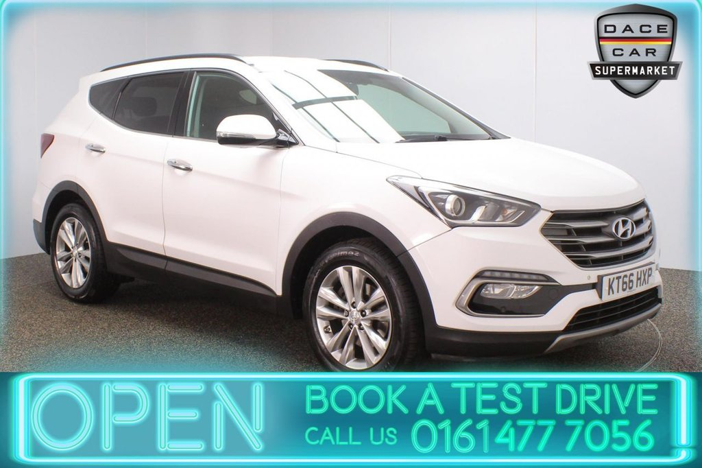 USED 2017 66 HYUNDAI SANTA FE 2.2 CRDI PREMIUM BLUE DRIVE 5DR 1 OWNER AUTO 197 BHP FULL SERVICE HISTORY + HEATED LEATHER SEATS + 7 SEATS + SATELLITE NAVIGATION + HEATED REAR SEATS + REVERSING CAMERA + BLUETOOTH + CRUISE CONTROL + CLIMATE CONTROL + MULTI FUNCTION WHEEL + XENON HEADLIGHTS + PRIVACY GLASS + DAB RADIO + ELECTRIC FRONT SEATS + ELECTRIC WINDOWS + ELECTRIC/HEATED/FOLDING DOOR MIRRORS + 18 INCH ALLOY WHEELS