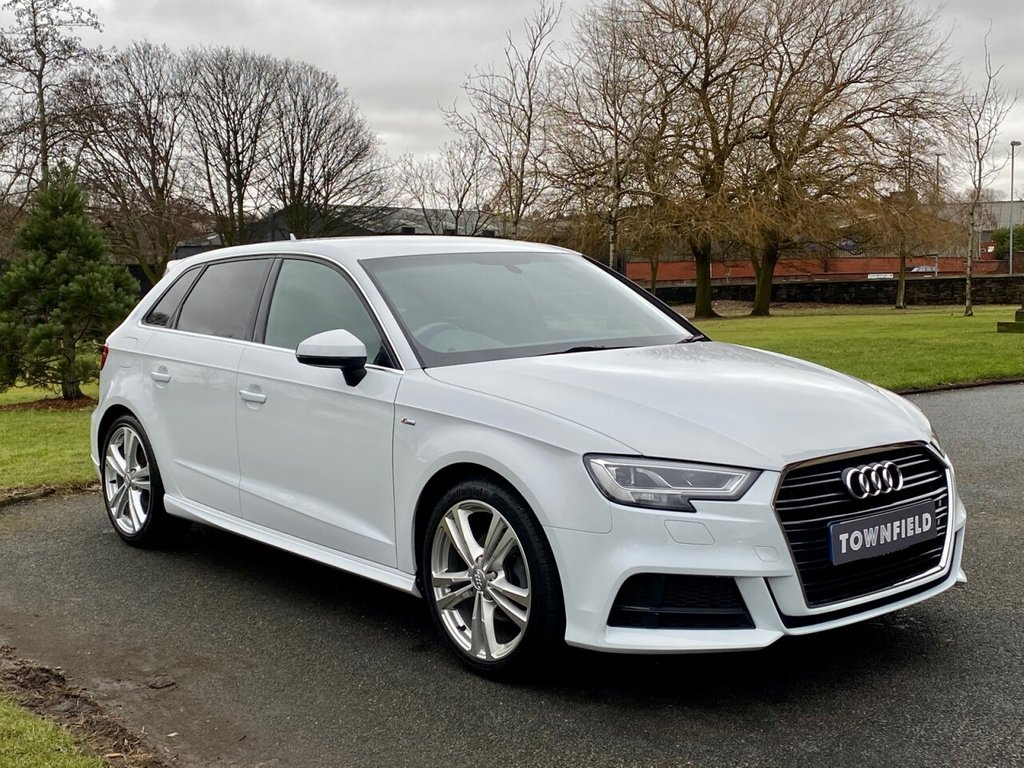 USED 2017 17 AUDI A3 1.5 TFSI S LINE 5d 148 BHP A Superb 1 Owner Example Finished in Glacier White Metallic with Black Leather / Cloth S-Line Embossed Seats and a Full Audi Dealer Service History. Complete with a Great Specification to Include: HDD Satellite Navigation + Bluetooth Connectivity with Smartphone Interface + DAB Radio, 18 Inch Alloy Wheels, 3 Spoke Sports Leather Multi Function Steering Wheel, Cruise Control, Privacy Glass, Automatic LED Headlights with Power Wash, Park Distance Control, On-Board Computer, Drive Select - Driving