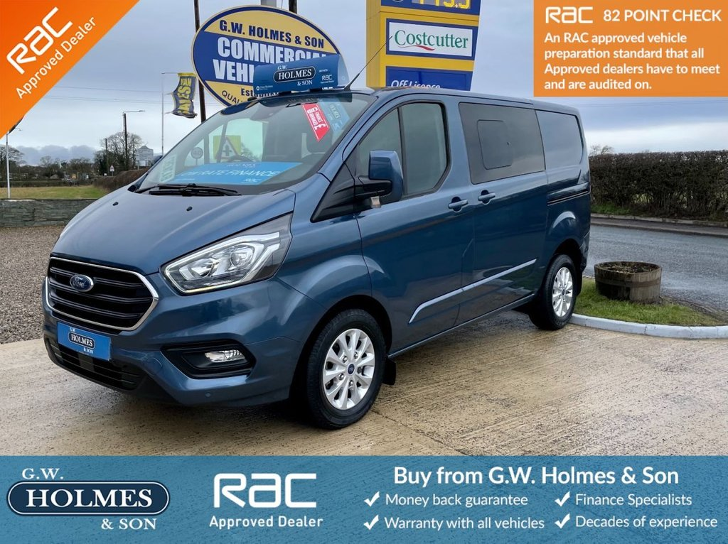 USED 2020 69 FORD TRANSIT CUSTOM LIMITED 2.0 TDCI 320 130 BHP DCIV CREWCAB L1 H1 CHROME BLUE **AUTOMATIC**