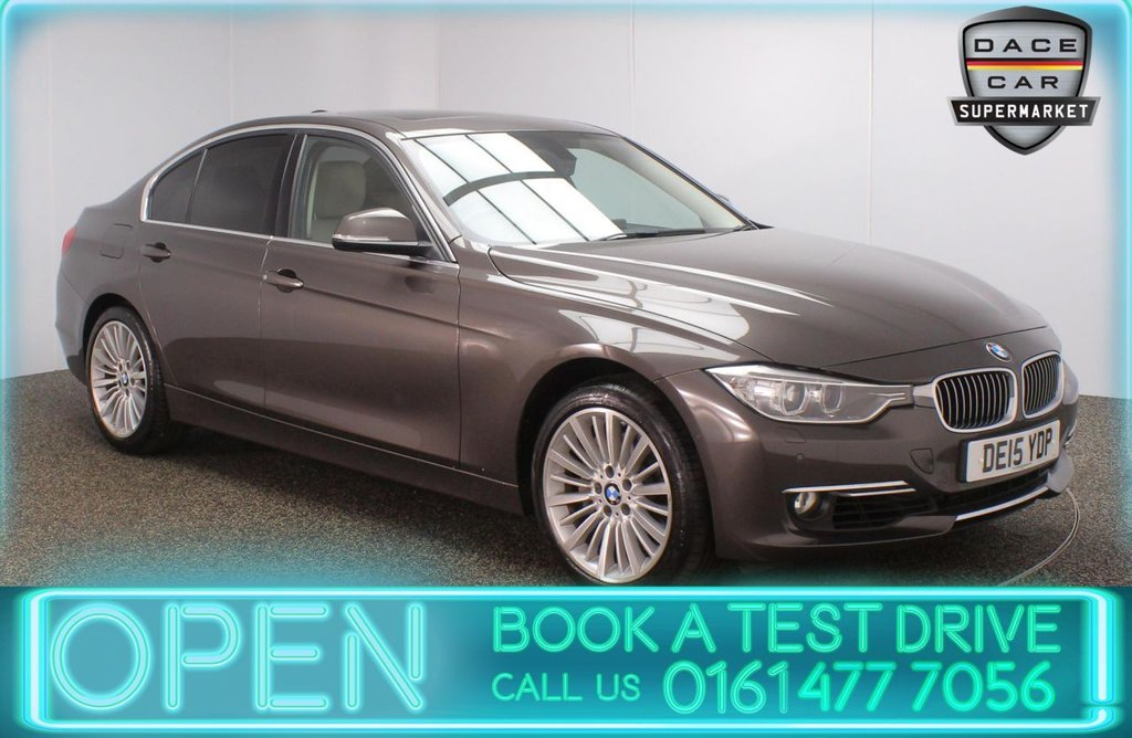 USED 2015 15 BMW 3 SERIES 3.0 335I LUXURY 4DR 302 BHP FULL BMW SERVICE HISTORY + HEATED LEATHER SEATS + SATELLITE NAVIGATION + REVERSING CAMERA + PARK ASSIST + PARKING SENSOR + HARMAN/KARDON PREMIUM SPEAKERS + BLUETOOTH + CRUISE CONTROL + CLIMATE CONTROL + MULTI FUNCTION WHEEL + PRIVACY GLASS + XENON HEADLIGHTS + DAB RADIO + AUX/USB PORTS + ELECTRIC WINDOWS + ELECTRIC DOOR MIRRORS + 18 INCH ALLOY WHEELS
