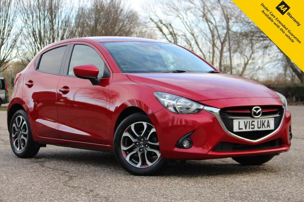 USED 2015 15 MAZDA 2 1.5 SPORT NAV 5d 89 BHP ** FULL MAZDA SERVICE HISTORY ** BRAND NEW ADVISORY FREE MOT ** SAT NAV ** REAR PARKING AID ** LANE DEPARTURE WARNING ** CRUISE CONTROL + LIMITER ** BLUETOOTH + USB ** DAB RADIO ** AUTO LIGHTS + WIPERS ** KEYLESS ENTRY + POWER BUTTON START ** POWER FOLDING MIRRORS ** £20 ROAD TAX ** ULEZ CHARGE EXEMPT ** CLICK & COLLECT + NATIONWIDE DELIVERY AVAILABLE ** BUY ONLINE IN CONFIDENCE FROM A MULTI AWARD WINNING 5* RATED DEALER **
