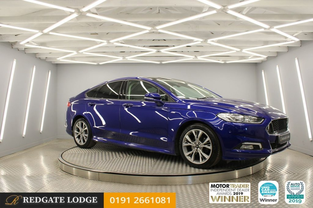 USED 2017 67 FORD MONDEO 2.0 ST-LINE X TDCI 5d 177 BHP SAT-NAV, GLASS ROOF, BLUETOOTH, DAB, HEATED SEATS, CRUISE, PARKING SENSORS, STUNNING IN BLUE....