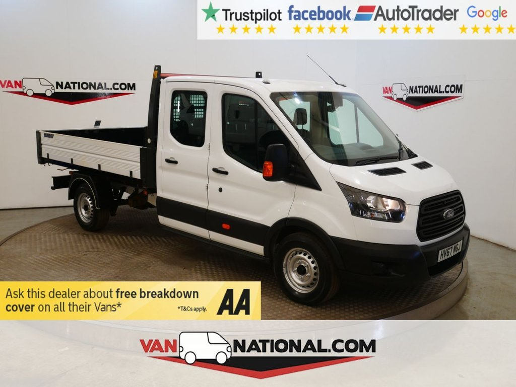 USED 2017 67 FORD TRANSIT 2.0 350 L3 130PS DOUBLE CAB TIPPER * EURO 6 * ALLOY TIPPER * 7 SEATS *