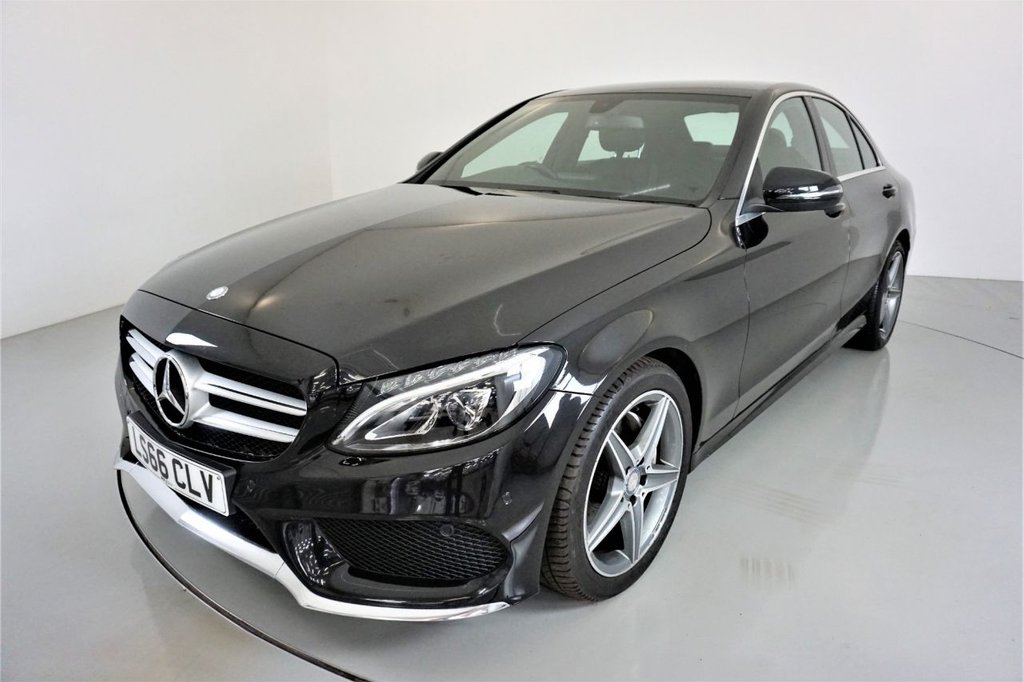 USED 2016 16 MERCEDES-BENZ C-CLASS 2.1 C220 D AMG LINE 4d-2 OWNER CAR-HEATED BLACK LEATHER-BLUETOOTH-CRUISE CONTROL-PARKING SENSORS-REVERSE CAMERA-MIRROR PACKAGE-CLIMATE CONTROL