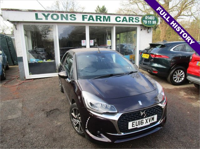 USED 2016 16 DS DS 3 1.2 PURETECH PRESTIGE S/S 3d 129 BHP CONVERTIBLE Low Mileage, Full Service History, One Previous Owner, NEW MOT, Excellent fuel economy! Only £20 Road Tax!