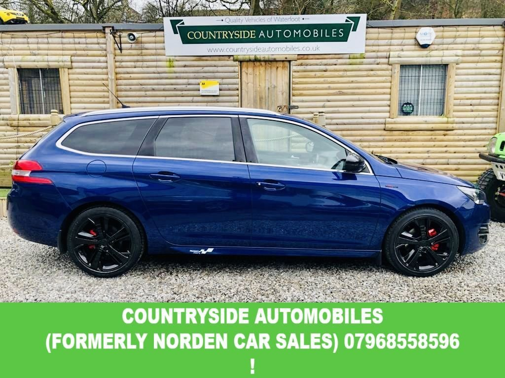 USED 2015 65 PEUGEOT 308 1.6 BLUE HDI S/S SW GT LINE 5d 120 BHP Stunning sporty and futuristic, Fully loaded with Sat Nav, full touch sensitive interior, Nappa black leather with red stitchind with electric, heated massagin front seats. full bedia interface with reverse camera parking system, AUX, USB abd 12v, Refrigerated glove box, heated f and rear windscreen.  LED Headlights,The 1.6L engine provides a highly economical combined MPG of 85.6 MPG. Peugeot Connect with Bluetooth. Only £20 a year road tax. 18 inch gloss black alloy wheels. STUNNING !