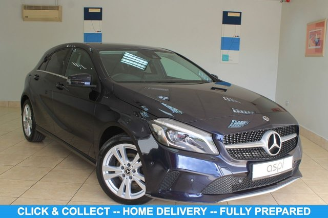 USED 2018 18 MERCEDES-BENZ A-CLASS 1.5 A 180 D SPORT PREMIUM 5d 107 BHP BLACK ANTHRACITE LEATHER, SATELLITE NAVIGATION, AIR CON, SMARTPHONE INTEGRATION PACKAGE, SMARTPHONE INTEGRATION APPLE CARPLAY, RAIN SENSOR, REAR PRIVACY GLASS, HEATED FRONT SEATS, KEYLESS, MIRROR PK, COMFORT SEAT PK, ATTENSION ASSIST, ALLOY WHEELS, ELECTRIC FOLDING MIRRORS, ACTIVE PARK ASSIST, AUTO DIM INTERIOR & EXTERIOR MIRROR, PADDLE SHIFT, REVERSE CAMERA, SD PORT, BLUETOOTH, CRUISE CONTROL, MULTI FUNC S/WHEEL