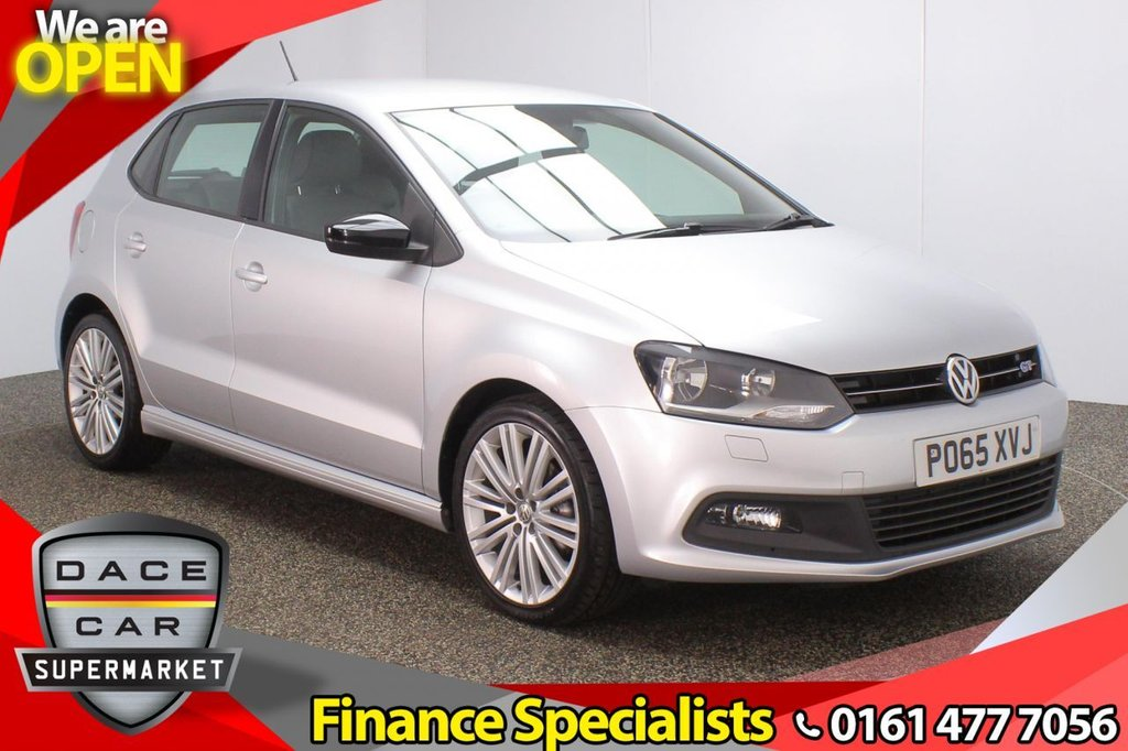 USED 2015 65 VOLKSWAGEN POLO 1.4 BLUEGT DSG 5DR AUTO 148 BHP FULL SERVICE HISTORY + £20 12 MONTHS ROAD TAX + HEATED HALF LEATHER SEATS + BLUETOOTH + CRUISE CONTROL + MULTI FUNCTION WHEEL + AIR CONDITIONING + DAB RADIO + AUX/USB PORTS + ELECTRIC WINDOWS + ELECTRIC/HEATED DOOR MIRRORS + 17 INCH ALLOY WHEELS