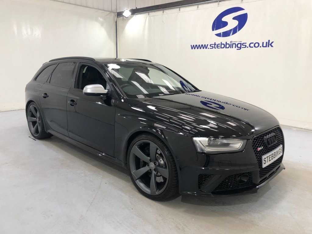 USED 2014 63 AUDI RS4 AVANT 4.2 FSI QUATTRO 5d 444 BHP SPORT PACK, LEATHER, HEATED FRONT SEATS, BANG AND OLUFSEN SOUND SYSTEM, MULTIMEDIA INTERFACE, DUAL ZONE CLIMATE CONTROL, ADAPTIVE CRUISE CONTROL, ADVANCED PARKING SYSTEM, ACTIVE LANE ASSIST, BLACK STYLING PACKAGE, ALLOY WHEELS