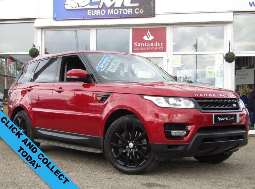 USED 2013 63 LAND ROVER RANGE ROVER SPORT 3.0 SDV6 HSE 5d 288 BHP Finished in FIRENZE RED PEARL with contrasting EBONY HEATED LEATHER SEATS. This car is a great choice if you want a posh car that is brilliant for family life. Features include, Rear view camera, Heated front and rear Leather Seats, Nav, DAB, Cruise, Gloss Black Alloys, Virtual cockpit, Electric depolyable towbar, SIDE STEPS, 2 owners, 2 keys HPI Clear. Peter Vardy Land Rover Dealer serviced at 6 miles, 14485 miles, 22130 miles, 31110 miles, 43789 miles and on arrival at Euro Motor Co.