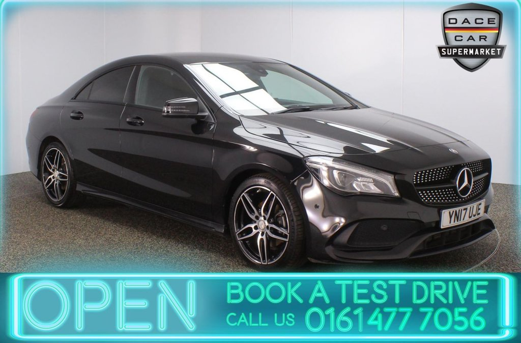 USED 2017 17 MERCEDES-BENZ CLA 2.1 CLA 200 D AMG LINE 4DR 1 OWNER 134 BHP FULL SERVICE HISTORY + £20 12 MONTHS ROAD TAX + HALF LEATHER SEATS + SATELLITE NAVIGATION + PARKING SENSOR + BLUETOOTH + CRUISE CONTROL + CLIMATE CONTROL + MULTI FUNCTION WHEEL + LED HEADLIGHTS + PRIVACY GLASS + RADIO/CD + USB PORT + ELECTRIC WINDOWS + ELECTRIC DOOR MIRRORS + 18 INCH ALLOY WHEELS