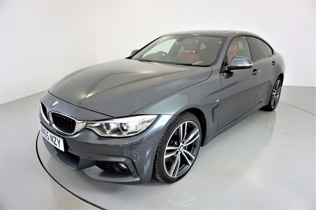 USED 2015 65 BMW 4 SERIES 3.0 435D XDRIVE M SPORT GRAN COUPE 4d-2 OWNER CAR-SUNROOF-HEAD UP DISPLAY-HEATED STEERING WHEEL-HEATED FRONT SEATS-CORAL RED DAKOTA LEATHER-19