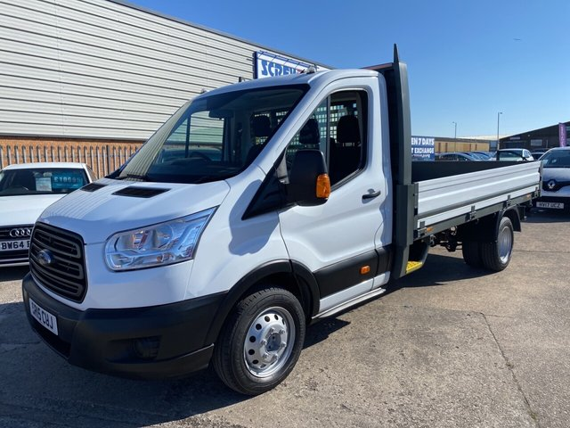 USED 2015 15 FORD TRANSIT 2.2 350 C/C DRW 99 BHP LWB FINANCE ARRANGED**PART EXCHANGE WELCOME*1 OWNER*SERVICE HISTORY*MOT UNTIL 21.03.22*BLUETOOTH*USB*6 SPEED*DROPSIDES*BOARDED FLATBED