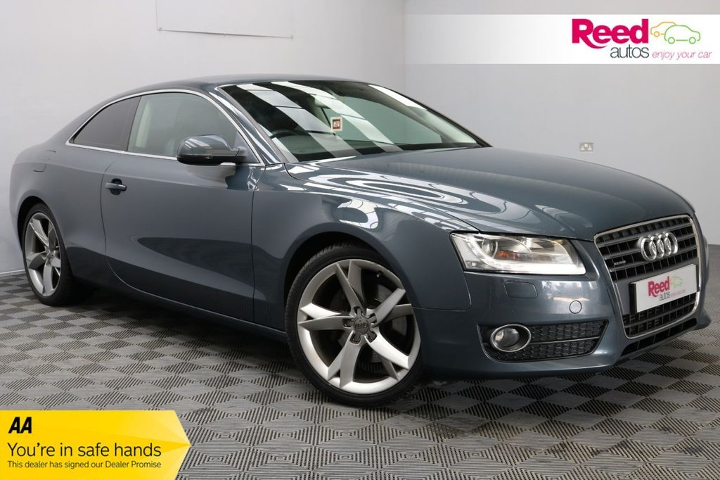 USED 2009 09 AUDI A5 2.0 TFSI QUATTRO SPORT 3d 208 BHP 19 INCH ALLOY WHEELS+LEATHER SEAT UPHOLSTERY+PEARLESCENT PAINT+PARKING SENSORS+AUTOMATIC LIGHTS/WIPERS+FOG LIGHTS