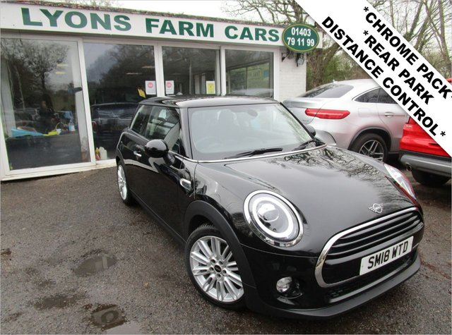 "USED 2018 18 MINI HATCH COOPER 1.5 COOPER 3d 134 BHP AUTOMATIC *CHILI PACK + REAR PARK DISTANCE CONTROL* *Optional extra Rear Park Distance Control & Chili Pack which includes: Diamond Cloth/Leather Seats in Carbon Black, 17"" Tentacle Spoke Silver Alloy Wheels, Automatic Headlights, Automatic Dual-Zone Climate Control, rain Sensing Wipers, LED Headlights + Fog Lights, Driving Mode Selector & Interior Mood Lighting* Mini Service History + Just Serviced, One Owner, NEW MOT, Great fuel economy!"