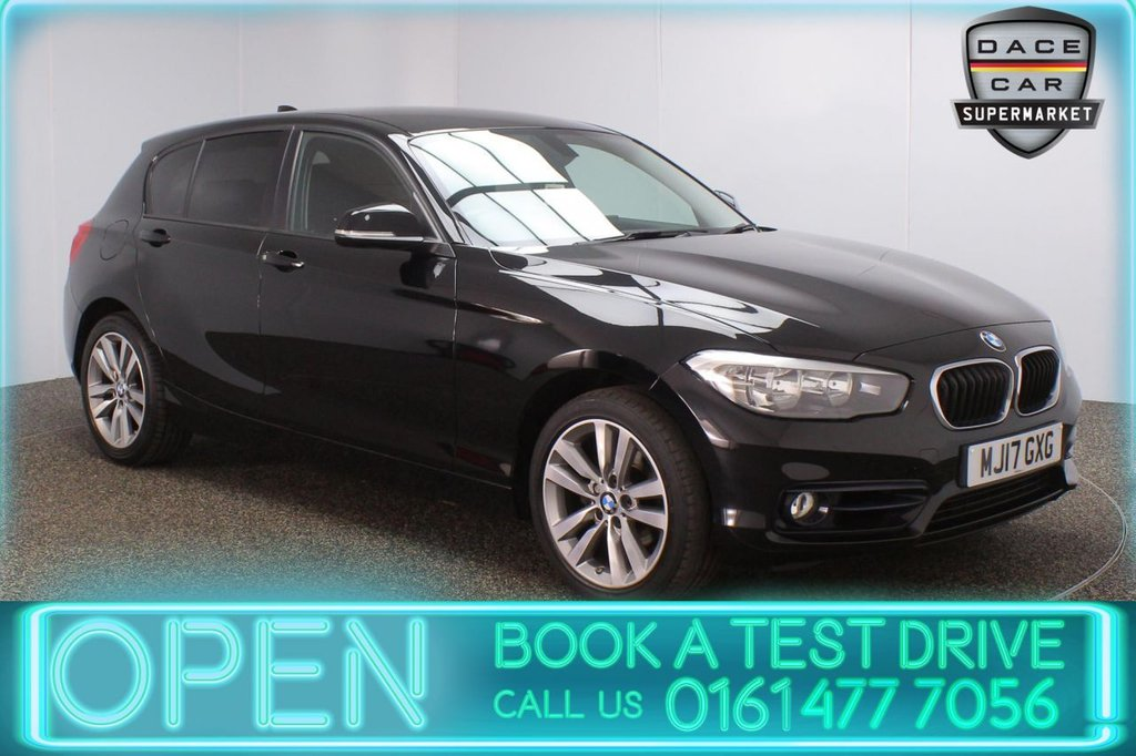 USED 2017 17 BMW 1 SERIES 2.0 118D SPORT 5DR 147 BHP BMW SERVICE HISTORY + £20 12 MONTHS ROAD TAX + SATELLITE NAVIGATION + BLUETOOTH + MULTI FUNCTION WHEEL + AIR CONDITIONING + PRIVACY GLASS + DAB RADIO + AUX/USB PORTS + ELECTRIC WINDOWS + ELECTRIC DOOR MIRRORS + 17 INCH ALLOY WHEELS