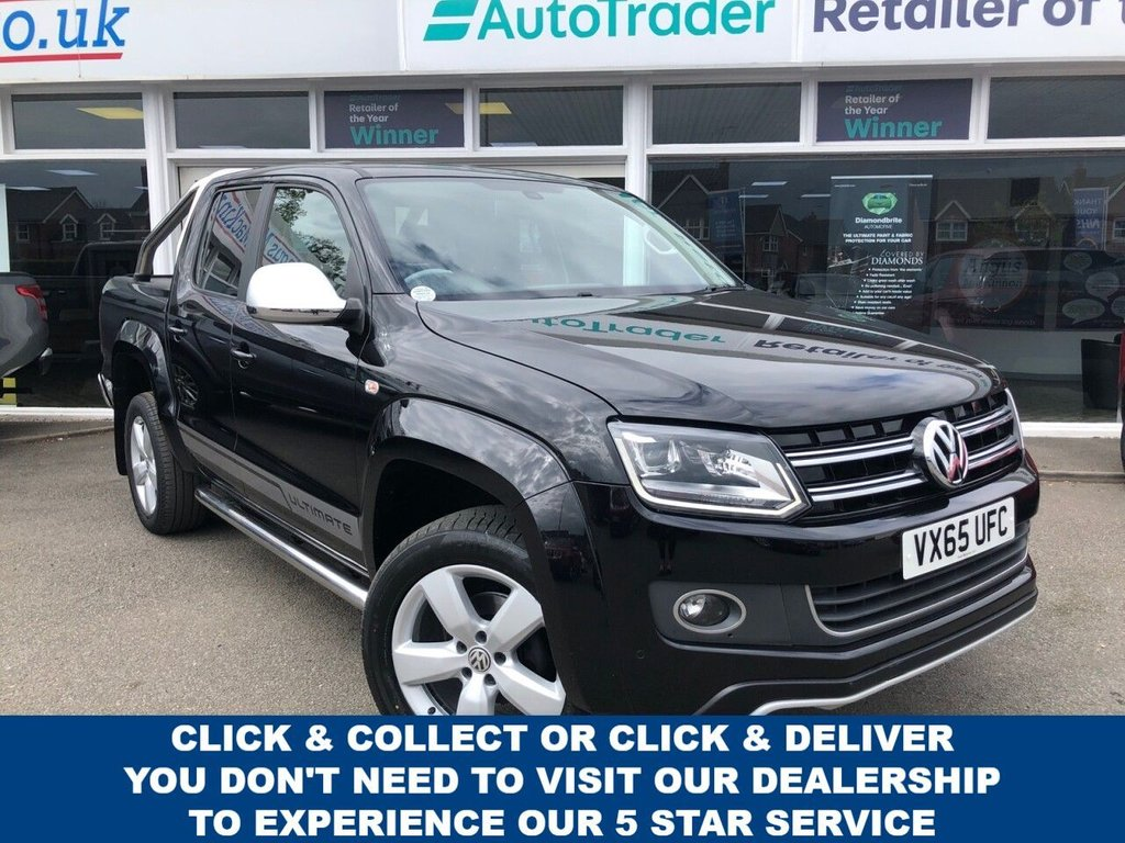 USED 2015 65 VOLKSWAGEN AMAROK 2.0 DC TDI ULTIMATE 4MOTION 4dr 5 Seat Double Cab Pickup 4x4 AUTO with NO VAT TO PAY and Great Value for Money. Roll Top Canopy, Tow Bar, Sat Nav, Radio, Bluetooth, Front & Rear Parking Sensors, Rear Camera, Auto Lights, Cruise Control & Heated Front Seats Ready to Finance and Drive Away Today .  1 Former Keeper