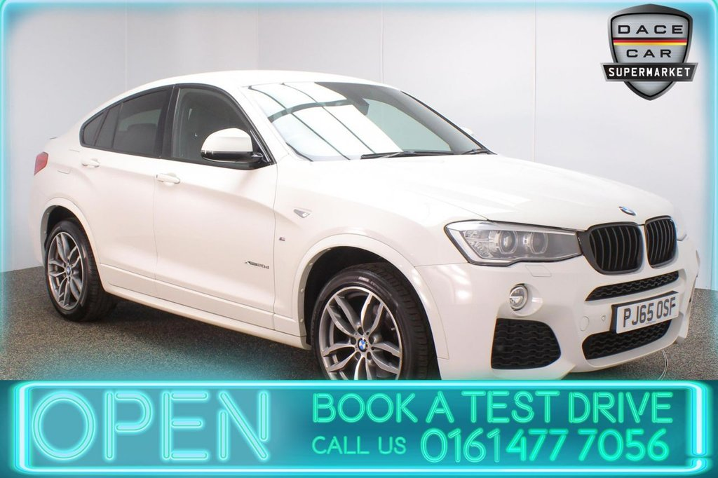 USED 2015 65 BMW X4 2.0 XDRIVE20D M SPORT 4DR AUTO 188 BHP BMW SERVICE HISTORY + HEATED LEATHER SEATS + SATELLITE NAVIGATION + REVERSING CAMERA + PARKING SENSOR + HARMAN/KARDON PREMIUM SPEAKERS + BLUETOOTH + CRUISE CONTROL + CLIMATE CONTROL + MULTI FUNCTION WHEEL + XENON HEADLIGHTS + PRIVACY GLASS + DAB RADIO + AUX/USB PORTS + ELECTRIC WINDOWS + ELECTRIC DOOR MIRRORS + 19 INCH ALLOY WHEELS