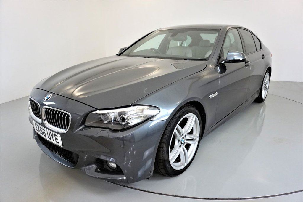 USED 2016 66 BMW 5 SERIES 2.0 520D M SPORT 4d-30 ROAD TAX-OYSTER/BLACK DAKOTA LEATHER UPHOLSTERY WITH EXCLUSIVE STITCHING-ELECTRIC FOLDING MIRRORS-M SPORT PLUS PACKAGE-19