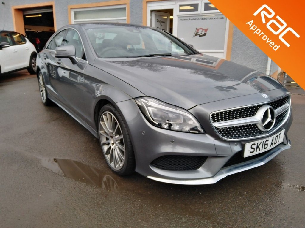 """USED 2016 16 MERCEDES-BENZ CLS CLASS 2.1 CLS220 D AMG LINE PREMIUM 4d 174 BHP Privacy Glass, Elec Glass Sunroof, 19"""" AMG Alloys, Met Grey with Black Leather, COMAND Navigation"""