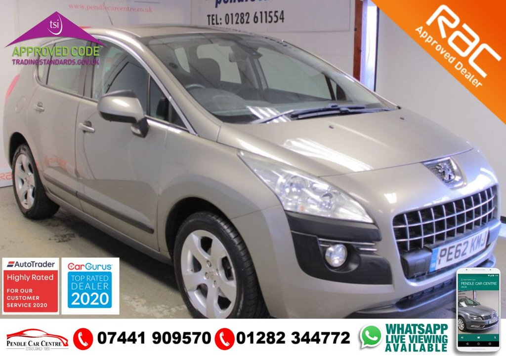 "USED 2012 62 PEUGEOT 3008 1.6 ACTIVE E-HDI FAP 5d 110 BHP RAC WARRANTY INCLUDED + FULLY INSPECTED + AUTOMATIC GEARBOX + EXCELLENT CONDITION + LOW MILEAGE + 17"" ALLOYS + PERFECT FAMILY CAR"
