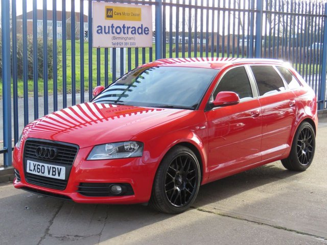 USED 2010 60 AUDI A3 1.6 TDI S LINE 5d 103 BHP AIR CON, PRIVACY GLASS, C/D Service History with 9 Stamps-Half Leather-£20 Road Tax