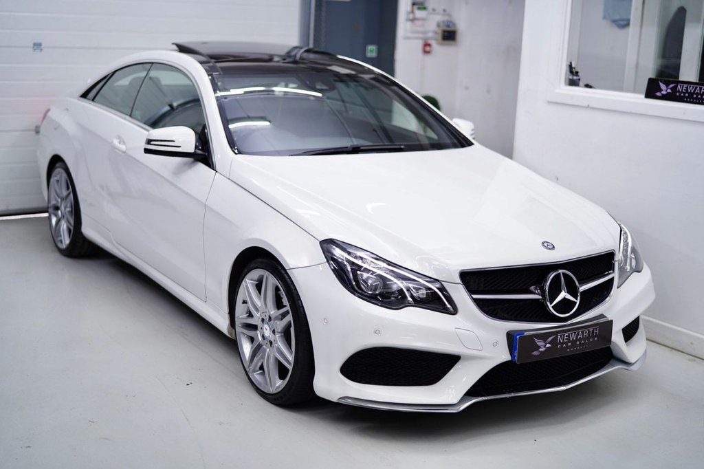 USED 2016 16 MERCEDES-BENZ E-CLASS 2.1 E220 AMG Line Edition (Premium) 7G-Tronic Plus (s/s) 2dr POLAR WHITE |19' AMG| PAN ROOF