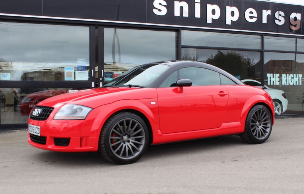 USED 2005 05 AUDI TT 1.8 QUATTRO SPORT 3d 236 BHP Misano Red Metallic, Contrasting Black Roof, TT Quattro Sport 240 Full Service History Including Timing Belt and Water Pump In 2020, Recaro Bucket Seats, 2 Keys and Book Pack, Polished aluminium sill trims, Height/reach adjustable steering column, Cup  Holders,  Driver's information system, Warning triangle, Anti lock brake system + Electronic Brake force Distribution, Electronic Differential Lock + traction control, First aid kit, Driver and passenger airbags.
