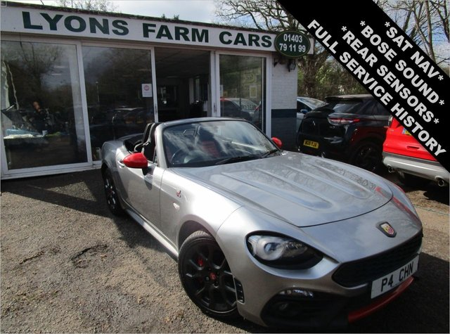 USED 2018 67 ABARTH 124 1.4 SPIDER MULTIAIR 2d 170 BHP *REAR SENSORS + SAT NAV + BOSE SOUND* *Optional extra Satellite Navigation, Bose Sound System & Rear Parking Sensors* Full Service History + Just Serviced, One Previous Owner (including Lyons Farm Cars), MOT until March 2022