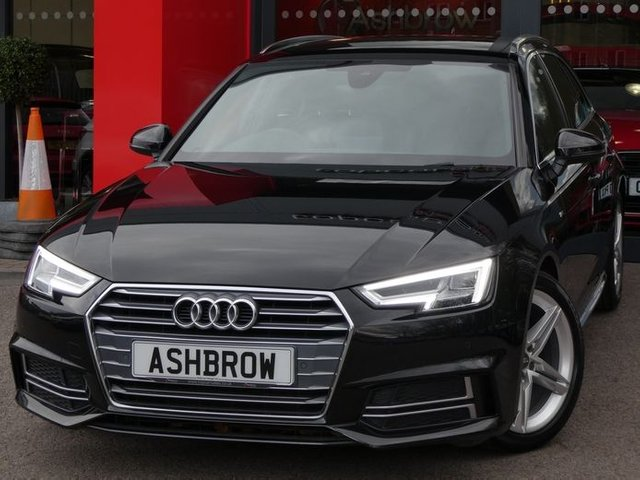 USED 2017 67 AUDI A4 AVANT 2.0 TDI S LINE 5d 150 S/S 1 OWNER FROM NEW, FULL AUDI SERVICE HISTORY, U/G MYTHOS BLACK METALLIC, SAT NAV, HEATED FRONT SEATS, AUDI SMART PHONE FOR APPLE CAR PLAY & ANDROID AUTO & MIRROR LINK, DAB RADIO, CRUISE CONTROL, LED LIGHTS W/ DRLS, REAR DYNAMIC SWEEPING INDICATORS, BLUETOOTH W/ AUDIO STREAMING, FRONT & REAR PARKING SENSORS W/ DISPLAY, 18 INCH TWIN 5 SPOKE ALLOYS, FULL S LINE BODY KIT, ALUMINIUM ROOF RAILS, ELECTRIC TAILGATE, ALUMINIUM PEDALS, BLACK LEATHER ALCANTARA INTERIOR, SPORT SEATS, VAT QUALIFYING.