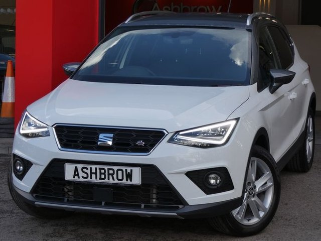 USED 2018 67 SEAT ARONA 1.0 TSI FR 5d 115 S/S FULL SEAT SERVICE HISTORY, 1 OWNER FROM NEW, SAT NAV, FULL LINK FOR APPLE CARPLAY / ANDROID AUTO, WIRELESS PHONE CHARGER, REAR PARKING SENSORS WITH DISPLAY, AUTO LIGHTS & WIPERS, ELECTRIC FOLDING DOOR MIRRORS, CRUISE CONTROL & SPEED LIMITER, VOICE CONTROL, DAB RADIO, BLUETOOTH PHONE & MEDIA, MANUAL 6 SPEED, ROOF RAILS, 17 INCH ALLOY WHEELS, FRONT FOG LIGHTS,  SPORT SEATS, LEATHER FLAT BOTTOM MULTIFUNCTION STEERING WHEEL, AUX INPUT, 2x USB PORTS, DUAL ZONE CLAIMET CONTROL, FRONT ASSIST, VAT Q