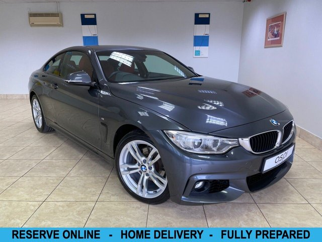 """USED 2014 14 BMW 4 SERIES 2.0 420D XDRIVE M SPORT 2d 181 BHP MINERAL GREY METALLIC, CORAL RED WITH BLACK HIGHLIGHTED DAKOTA LEATHER, SAT NAV, CLIMATE CONTROL, BLUETOOTH WITH USB, CRUISE CONTROL, ON BOARD COMPUTER, HEATED FRONT SEATS, FRONT & REAR PARKING SENSORS, HIGH GLOSS BLACK INTERIOR TRIM, XENONS, CRUISE CONTROL, 18"""" M DOUBLE SPOKE ALLOYS, MULTI FUNCTION STEERING WHEEL, FRONT SPORT SEATS, LOW MILEAGE"""