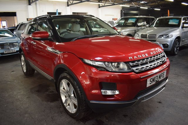 USED 2013 13 LAND ROVER RANGE ROVER EVOQUE 2.2 SD4 PURE TECH 5d 190 BHP 4X4  LOVELY CONDITION - FIRENZE RED - SD4 190 BHP 4X4 -9 SERVICES TO 83K - NAV - LEATHER - HEATED SEATS 19 INCH ALLOY WHEELS - POWERBOOT