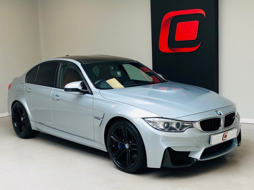 USED 2015 15 BMW M3 3.0 4d 426 BHP RARE SILVERSTONE BLUE WITH RED LEATHER + FSH + 2 KEYS